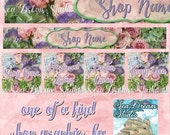 Spring Song floral Etsy shop Banner graphics set by Sea Dream Studio  OOAK
