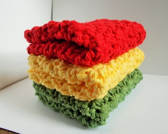 Set of 3 Crochet Dishcloths Washcloths Bathcloths-Gift-Housewarming