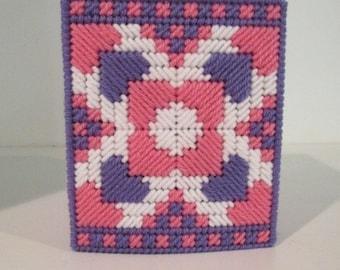 Pink & Purple Hearts Tissue Box Cover Plastic Canvas Needlecraft Stitchery Home Decor