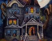 Halloween Haunted Witch Mansion - PRINT of my Original Halloween Watercolor Painting Folk Art