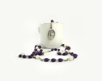 Vintage Italian Saint Joseph Rosary, Purple and White Prayer Beads Beads, Catholic Jewelry, Christian Religious Collectible