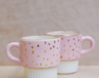 Small Ceramic Coffee Cup - Pink and Gold Cup- Ceramics and Pottery - Modern Ceramics