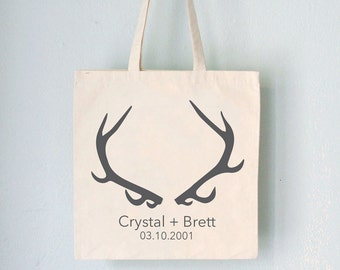 Custom Promo Tote - Antlers -  names and date on natural bag wedding favor wedding party birthday