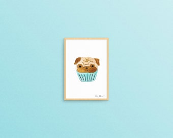 Pug Pupcake, Pug Art Print, Pug Gifts, Gifts for Dog Lovers, 5x7 Art Print, Small Gifts, Pug Art, Cupcake Art, Kitchen Art, Baby Shower Gift
