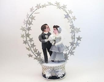 Vintage Style Spun Cotton Star Gazing Wedding Cake Topper OOAK