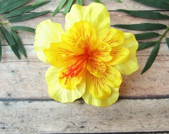 Yellow Hibiscus Hair Clip, Yellow PinUp Tropical Hair Clip , Hawaiian Hair Clip