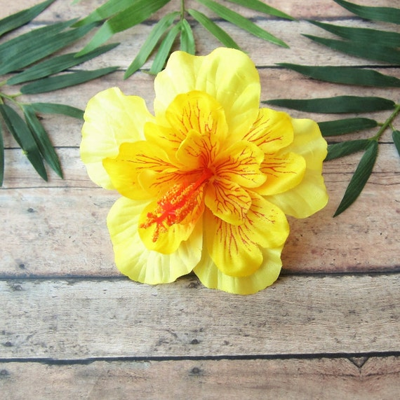 Vintage Hair Accessories: Combs, Headbands, Flowers, Scarf, Wigs Yellow Hibiscus Hair Clip Yellow PinUp Tropical Hair Clip  Hawaiian Hair ClipYellow Hibiscus Hair Clip Yellow PinUp Tropical Hair Clip  Hawaiian Hair Clip $10.00 AT vintagedancer.com