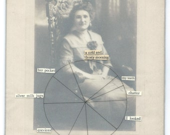 Funny vintage cabinet card piechart poem | Original fine art collage over photograph on board