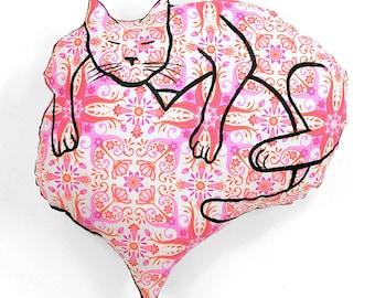 Valentines pillow, Valentines cat, cat lover gift, heart with cat shaped pillow, cat pillow, heart pillow, decorative pillow