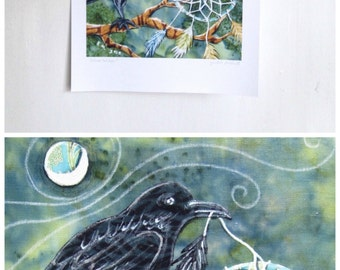 Dreamcatcher, black raven crow bird, emerald green, night moon, Archival Reproduction Print 8.5 x 11