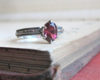 SALE Oval Garnet Ring Alternative Engagement Ring Promise Ring Rhodolite Garnet Gemstone Ring Ready to ship