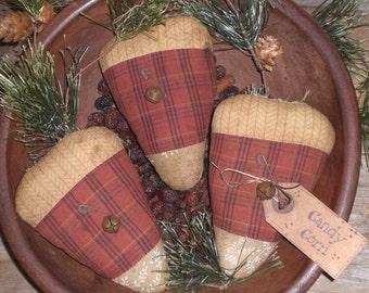 3 Primitive Whimsical Rustic Fall Seasonal Halloween Candy Corn Bowl Fillers Ornies Ornaments Shelf Sitters Tucks