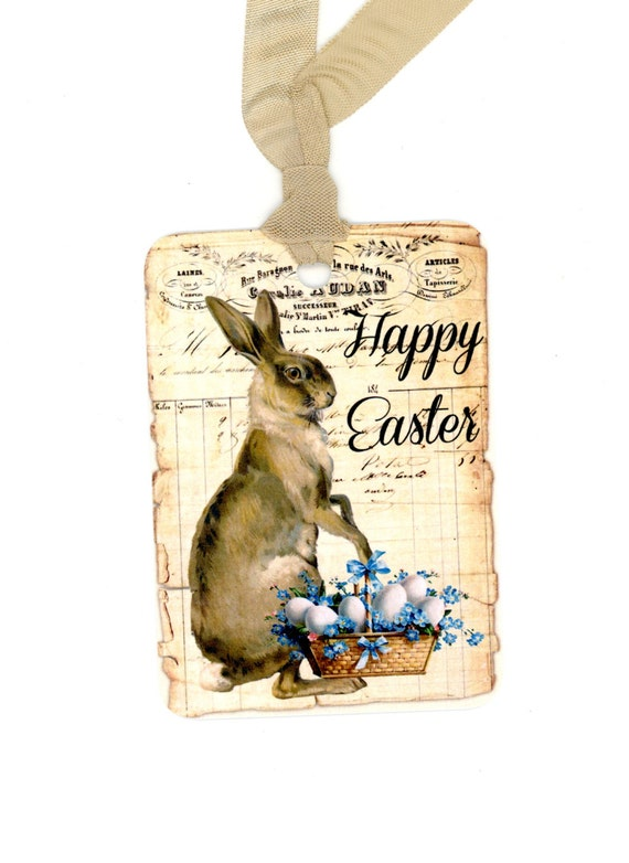 Easter tags rabbit gift tags easter basket vintage like this item negle Choice Image