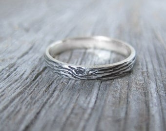woodgrain womens wedding ring DRIFTWOOD sterling custom size Made To Order
