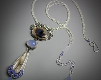 Montana Agate, Dendritic Quartz and Tanzanite Fringe Long Pendant Necklace . Statement Necklace .