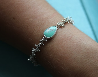 Variscite Silver Bracelet. Handmade Sprout Chain. Sterling Silver.