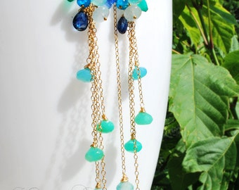 Summer dream -14k gold fill, chrysoprase, kyanite, aquamarine, green onyx, apatite and blue Chalcedony dangle earrings