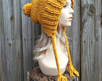 Chunky Knit Hat Women Slouchy Hat Mustard Hat Mustard Beanie - Charlotte Slouchy Ear Flap Hat - Knit Accessories - 34 Color Choices