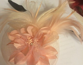PINK Horsehair Feather Flower Fascinator Brooch Pin!