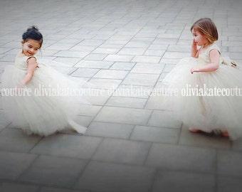 Champagne Flower Girl Dresses Beautiful Tutu Frocks neutral light beige rustic weddings soft tulle dress custom gowns Girls Dress Baby Dress
