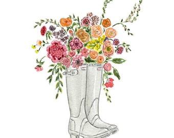Floral Art, Floral Watercolor,Boots, Garden art, Flowers Illustration Farmhouse Art, Children's Wall Art, Nusery Decor