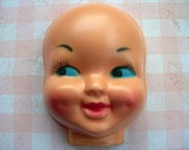 """Vintage Plastic Baby Doll Puppet Face molded hollow mask 3-1/2"""" x 4-1/2"""" Smiling Dimples Blue Eyes Made in Hong Kong lot of 2"""