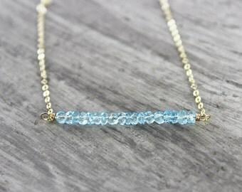 Sky Blue Topaz Necklace, Gemstone Bar Necklace, Gold Fill Necklace, Light Blue Necklace, Topaz Gemstone Necklace, Simple Beaded Necklace
