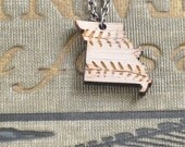 Cardinal Baseball Missouri State Necklace / White / Baseball Stitch / St Louis Cardinals / Sports Team / Modern Jewelry
