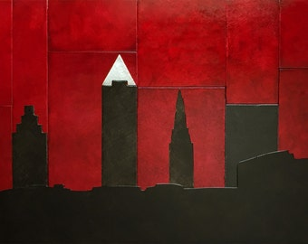 Large Cleveland Skyline metal artwork, 14x22 inches