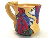 Ceramic Mug Handmade Wheel Thrown Stoneware Coffee Cup Hand Painted Fish Crescent Wrasse Made to Order 12 Ounces MG0023