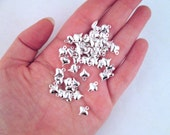 50 Silver Plated Puffy Heart Charms, 9x11mm, double sided