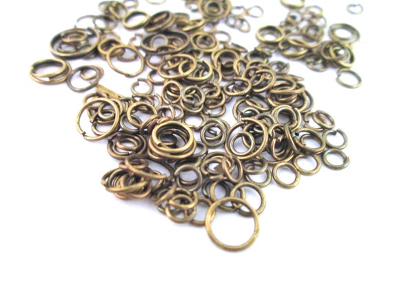 Brass Plated Jump Rings, 10 grams of assorted size and gauge jump rings (125-200 pieces)