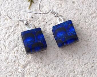 Petite Cobalt Blue Earrings, Dichroic Earrings, Petite Earrings, Dichroic Glass Jewelry, Dangle Drop Earrings ,Sterling Silver, 082816e101
