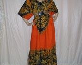 Tie Dye Maxi Caftan Cotton Orange Green Cruise Dress Resort Island Hippie Bohemian Nubian Queen Dress Long Summer Party Adult Plus Free Size