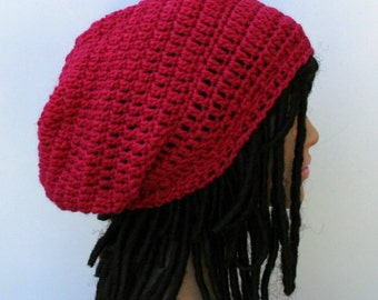 Fuchsia rouge pink wool silk Hippie Dread Tam slouchy Beanie Hat Dreadlock rasta snood sock tam hat, woman slouch hat beanie