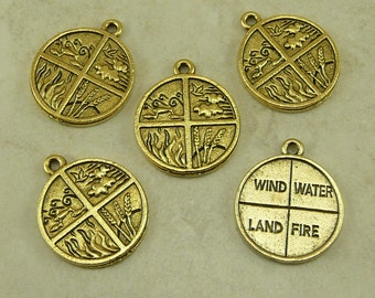 5 Four Elements Pendant Charms > Fire Water Land Air Nature Earth - Gold Tone American Made Lead Free Pewter - I ship internationally