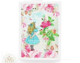 Alice in wonderland card for birthday, tea party with the cheshire cat, blank inside