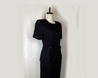 Vintage Dress, 1980's, Black, Rayon Blend, Taurus, Big Shoulders, Peplum, Satin Bow Accents, One Piece, Dallas,Small