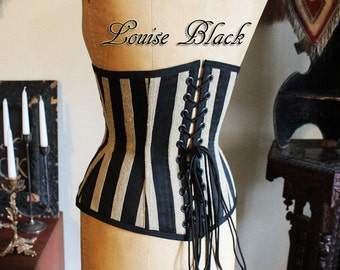 Limited Edition Theda Bara Egyptian Revival Striped Silk Dupioni Corset Cincher with Busk by Louise Black Custom Made to your Size