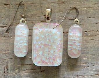 "Handmade White Fused Dichroic Art Glass Jewelry Matching Earrings Pendant Set with 16"" chain necklace  FREE shipping"