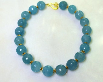 Outstandingly Beautiful Aquamarine Faceted 22kg Vermeil Embellished Focal Necklace...