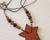 Ceramic Star Button Necklace/ Brown and Black / Glass Beaded Cotton Cord/ Handmade Button Jewelry/ Beadwork/ Gift For Women