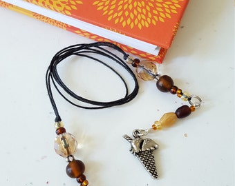 Ice Cream Cone Beaded Bookmark/ Browns / Summer Reading / Glass Beaded Cord With Metal Charm/ Handmade Book Thong/ Gift For Readers