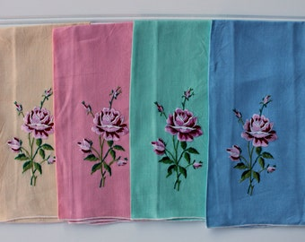 Vintage Rose Fingertip Towels - Rainbow Colors - Pink Yellow Green Blue Embroidered Roses - Set of 4