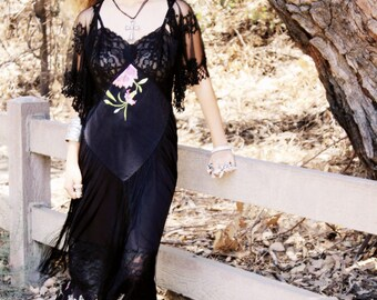 Beautiful Dark Summer Black Lace Maleficent Gothic Lace Dress Ooak
