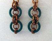 Teal and Bronze Bullseye Chainmaille Earrings Handmade