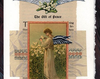Gift of Peace Sympathy Angel Collage Card