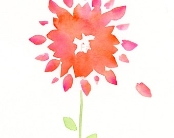 "Whimsical flower watercolor painting: ""September Sunshine"""
