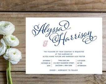 Navy and Pink Wedding Invitation - Whimsical Script Navy Pink Wedding Invitations - Fast Wedding Invitations