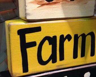 Farm Livin sign chunky BLOCKS green tractor farmer decor